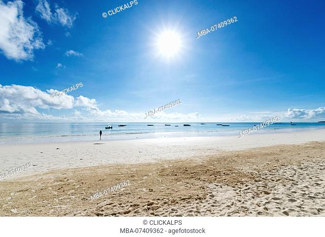 East Africa, Tanzania, Zanzibar, Kiwengwa beach on a summer day at low tide