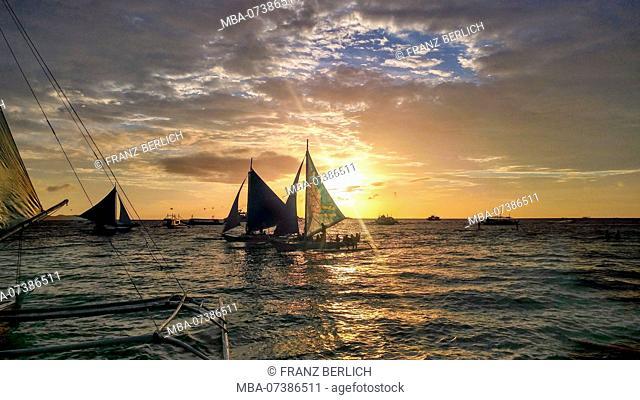 Philippines, Boracay Island, sailboats, catamaran, sunset