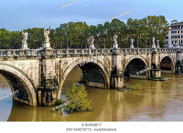 Ponte Sant'Angelo, once the Aelian Bridge, meaning the Bridge of Hadrian, is a Roman bridge in Rome, Italy, completed in 134 AD by Roman Emperor Hadrian