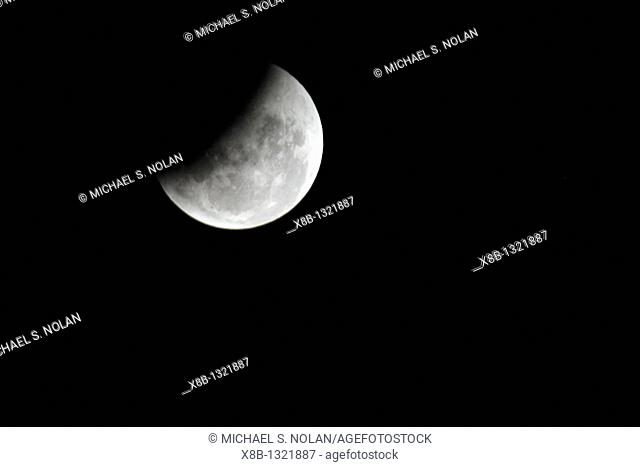 Sequential images from the lunar eclipse photographed from Santiago, Chile on March 3, 2007