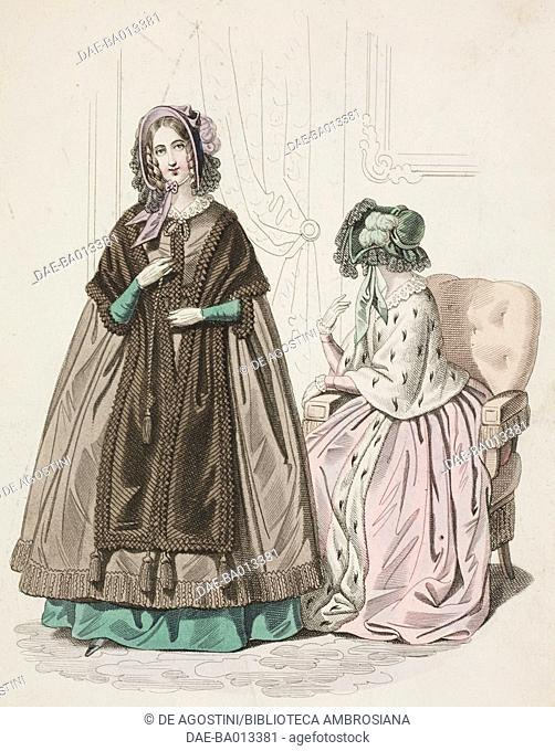 Female sketches with cloak, stole and hat and pink overcoat fringed by ermine and hat, plate 63 taken from Parisian Fashion