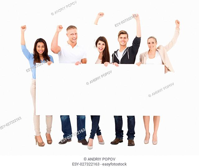 A Group Of Successful People With Different Multi Ethnicity Holding Billboard On White Background