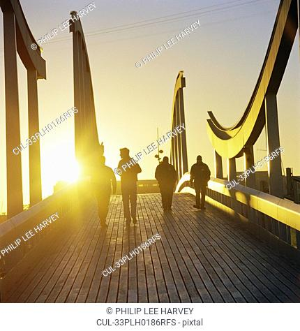 People on wooden walkway