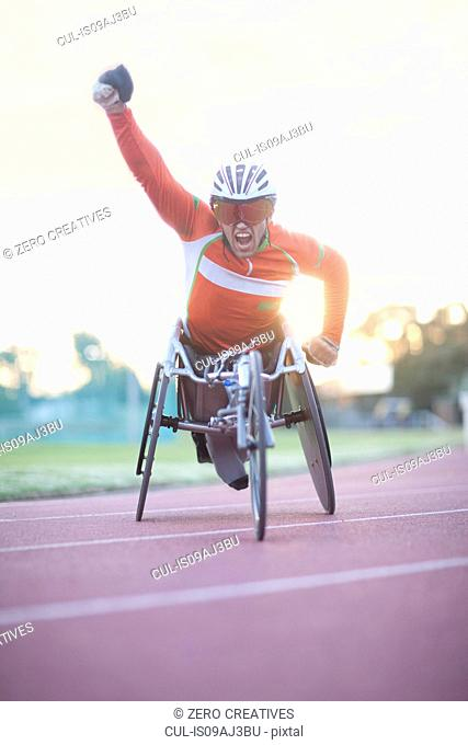 Winning athlete in para-athletics competition