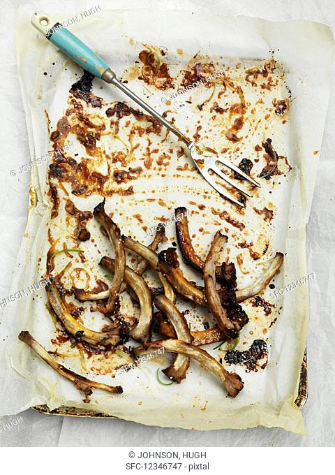 The bone leftovers of sticky ribs on paper