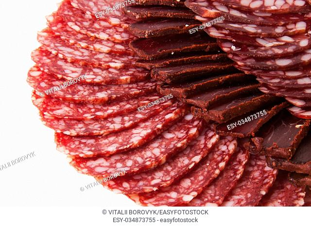 Sliced Basturma And Dried Sausages Isolated On White Background