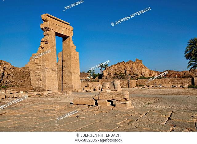 EGYPT, QENA, 07.11.2016, gate to ptolemaic Dendera Temple complex, Qena, Egypt, Africa - Qena, Egypt, 07/11/2016