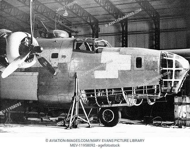 Crash Damaged Consolidated B-24 Liberator During Rebuild / Repairs and Modifictions at Scottish Aviation at Prestwick, Scotland UK