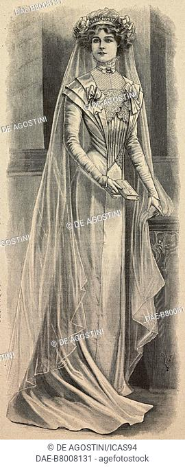 Woman wearing a silk muslin wedding dress, creation by Mademoiselle Louise Piret, engraving from La Mode Illustree, No 33, August 15, 1909