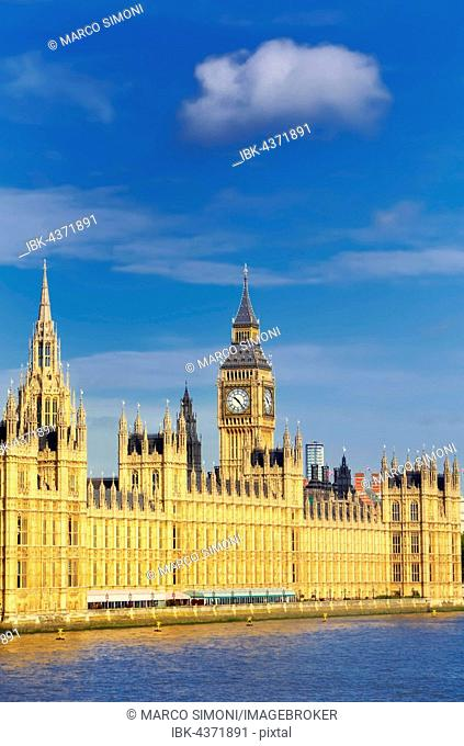 Big Ben, Houses of Parliament and River Thames, London, Great Britain, United Kingdom