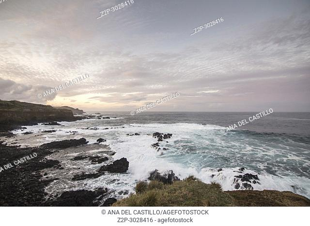 Seascape by twilight North of Sao Miguel island. Azores, Portugal