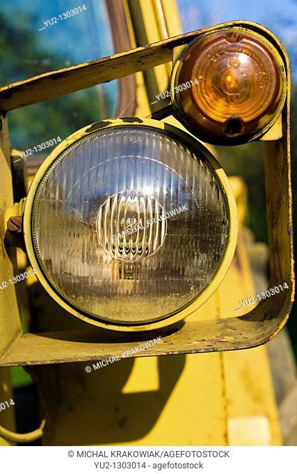 Headlight of old bulldozer
