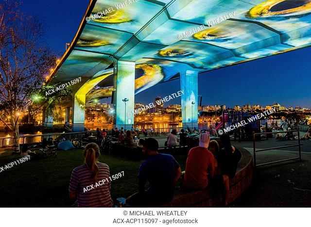 UNINTERRUPTED , a cinematic summer art installation projected onto the Cambie Bridge, Vancouver, British Columbia, Canada