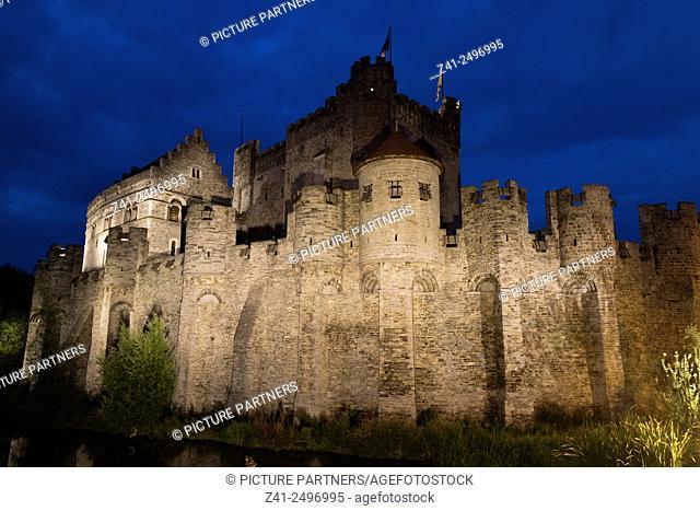 Gravensteen castle in Ghend, Belgium at night