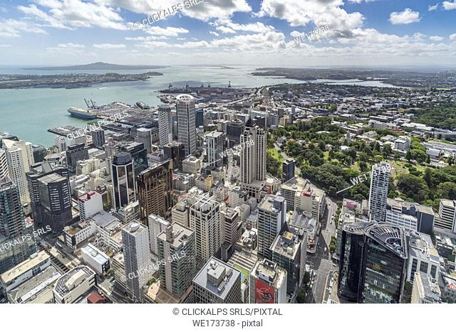 View of the city harbour and Devonport from Sky Tower. Auckland City, Auckland region, North Island, New Zealand