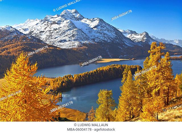 Switzerland, Grisons, Lake Sils in the Upper Engadine