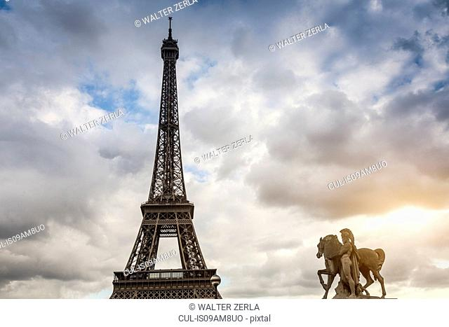 Greek warrior statue on Pont d'iena and Eiffel Tower, Paris, France