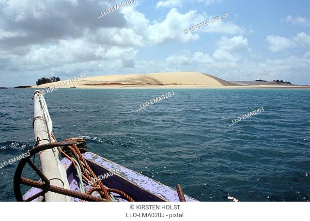 View of Sand Dune from Dhow  Bazaruto Island, Mozambique, Southern Africa