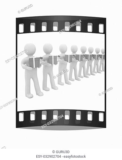 3d mans gives gifts on a white background. The film strip