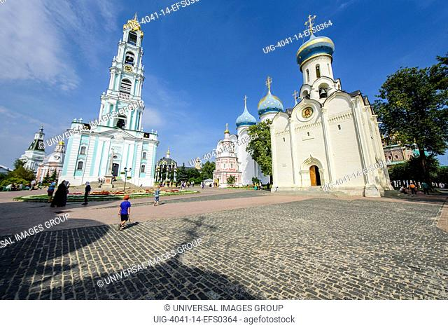 Russia, Trinity Monastery of Saint Sergius, bell tower and the Cathedral of the Assumption