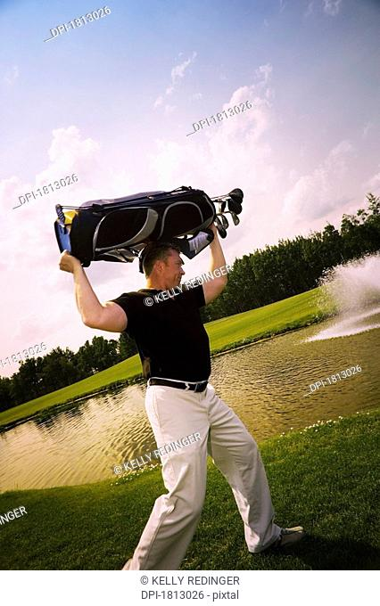 Side view of a frustrated golfer