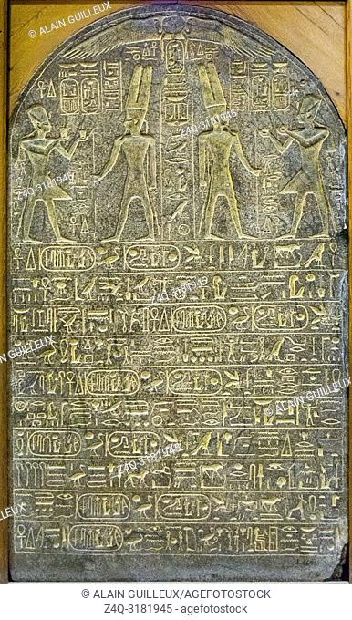Egypt, Cairo, Egyptian Museum, stele of Ramses II, found in a ramesside temple near the valley temple of Hatchepsut, West bank of Luxor