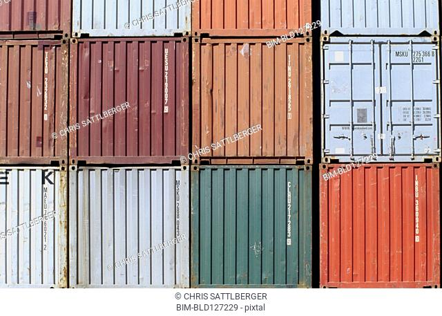 Row of shipping containers close-up