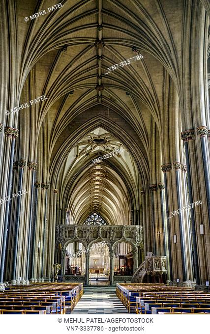 Inside the nave of Bristol Cathedral looking towards the vaulted ceilings of the choir screen and the high alter, Bristol, Gloucestershire, England, UK