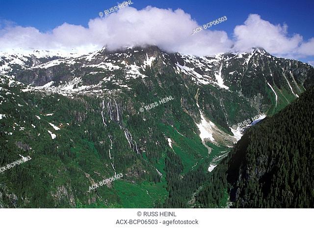 Aerial of Della Falls, Strathcona Provincial Park, British Columbia, Canada
