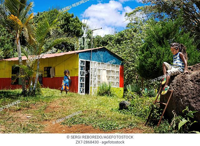 Local house at Chamarel village, South Mauritius, Africa