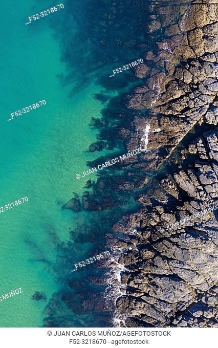 Coastal landscape in La Ballena, Sonabia, Castro Municipality, Cantabrian Sea, Cantabria, Spain, Europe