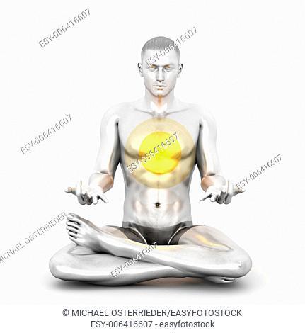 A woman performing a Anahata chakra meditation. 3D rendered illustration
