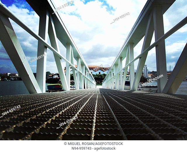 Access bridge to dock, Saint-Jean-de-Luz, Pyrenees-Atlantiques, Aquitaine, France