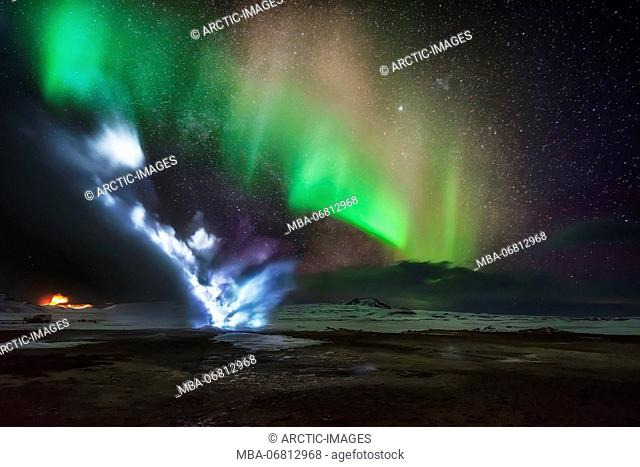 Northern Lights with geothermal steam, Hverarond, Namaskard, Iceland