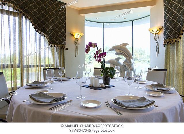 Celebration room in restaurant Urrunaga. Legutiano, Alava, Basque Country, Spain