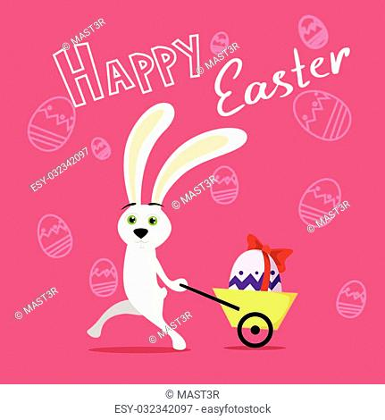 Rabbit Pull Small Cart With Colorful Egg Present Ribbon Over Sketch Background Happy Easter Holiday Banner Flat