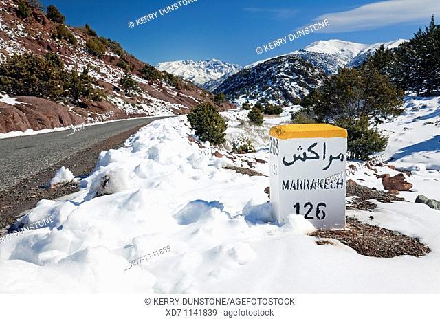 Morocco High Atlas Mountains Marrakesh 126km Post near Tizi-n-Test Pass