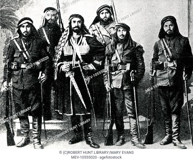 Kurdish soldiers in the Turkish army, defenders of Trabzon (Trebizond) on the Black Sea during the First World War