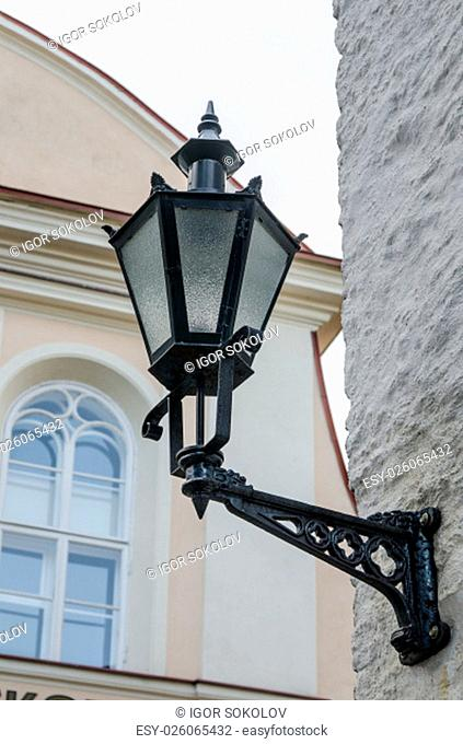 Beautiful lantern on a wall of the house in Old Tallinn