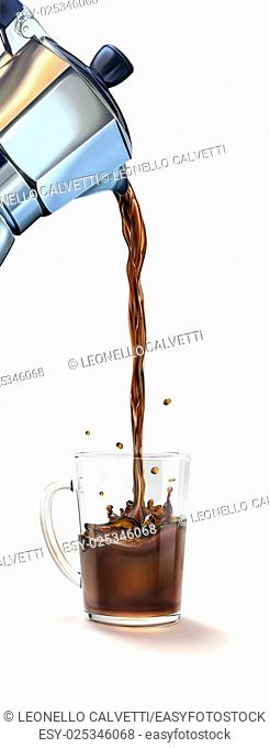 Moka coffee machine pouring coffee into a glass mug splashing. On white background, with clipping path included