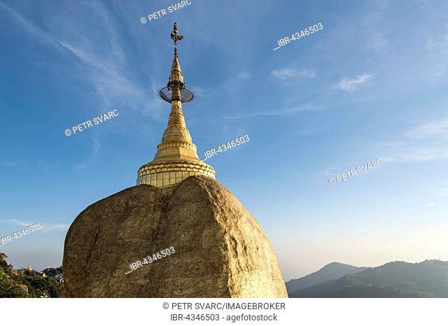 Kyaiktiyo Pagoda, Golden Rock Pagoda on Mount Kyaiktiyo, Burma, Myanmar
