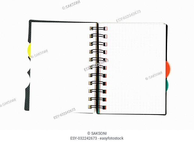 one open notepad isolated on white background