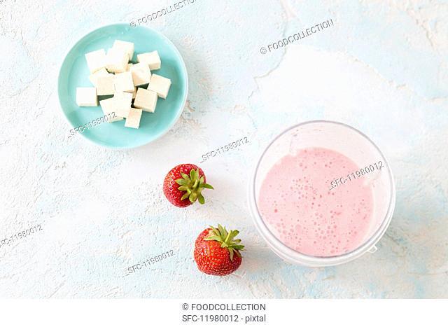 A strawberry smoothie with silken tofu