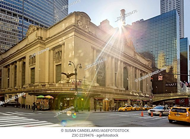 The sun rises over the iconic landmark of Grand Central Terminal in midtown Manhattan in New York City