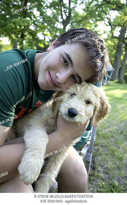 Happy young teen boy embracing Odin his new Goldendoodle puppy. Clitherall Minnesota MN USA