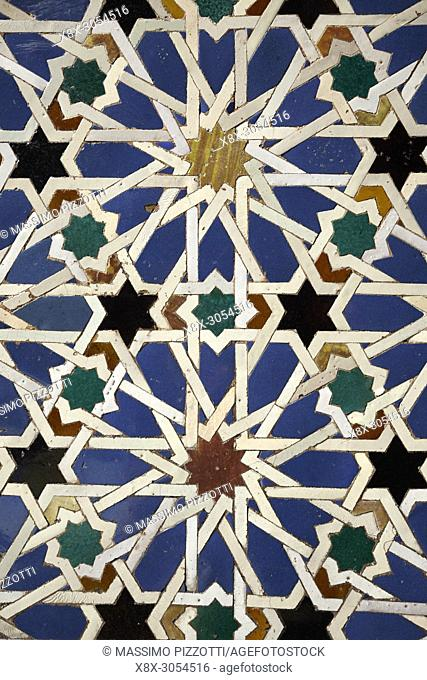 Mosaic decorations in the Alcázar of Seville, Andalusia, Spain