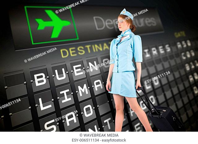 Composite image of pretty air hostess pulling suitcase