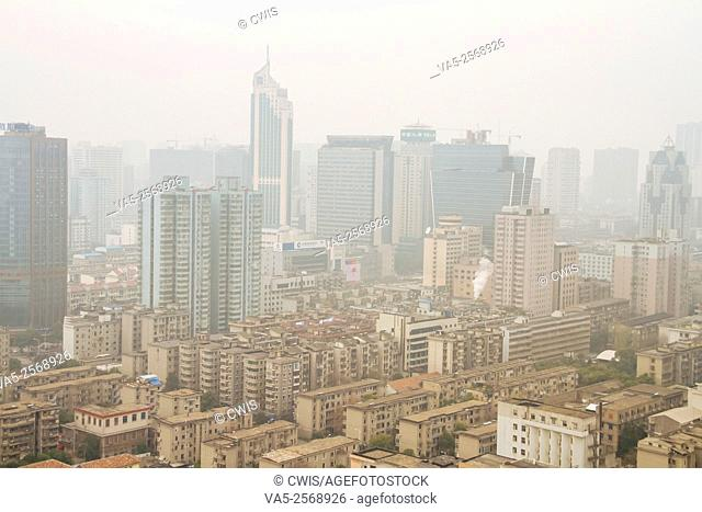 Changsha, Hunan province, China - The view of Changsha city with the heave air pollution in the daytime