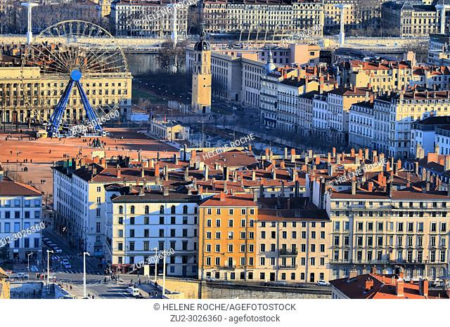 Aerial view of old city center of Lyon, France