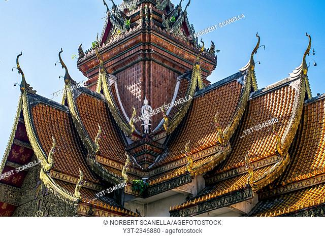 Asia. Thailand, Chiang Mai. Wat Bupparam. Detail of a typical pagoda roof
